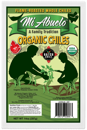 Flame Roasted Organic Hatch Chile Peppers that are carefully selected and hand-picked with care at their precise hot heat and flavor peak.