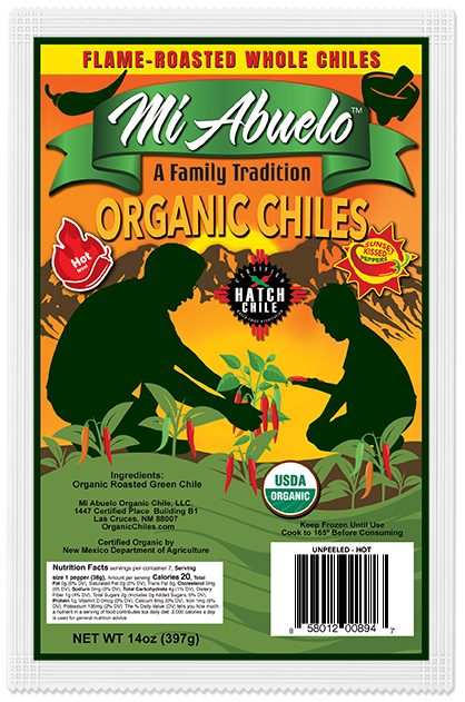 """Flame Roasted """"Sunset Kissed"""" Organic Hatch Chile Peppers are carefully selected and hand-picked with care at their precise hot heat and flavor peak."""