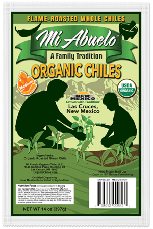 Our organic green chile peppers are carefully selected and hand-picked with care at their precise medium hot heat flavor peak.