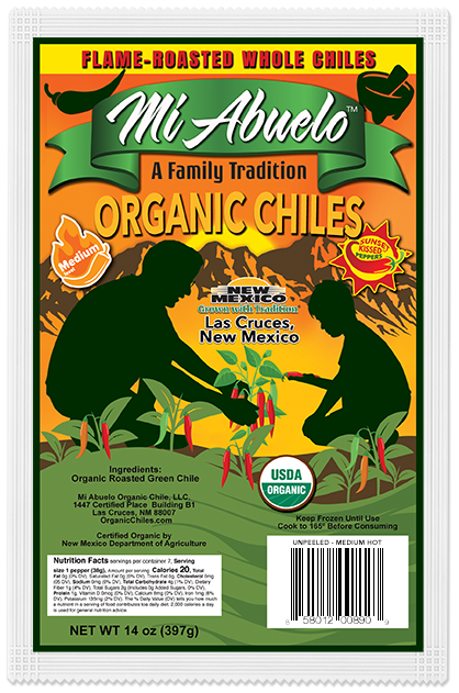 Our organic red chile peppers are carefully selected and hand-picked with care at their precise medium hot flavor peak.